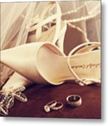 Wedding Shoes With Veil And Rings On Velvet Chair Metal Print by Sandra Cunningham
