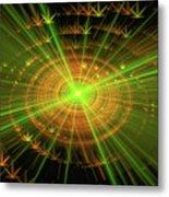 Weed Art Green And Golden Light Beams Metal Print
