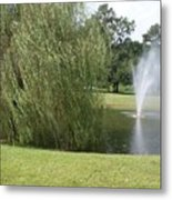 Weeping Willow And Fountain Metal Print