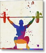 Weightlifter Paint Splatter Metal Print