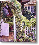 Welcome Rose Covered Gate Metal Print
