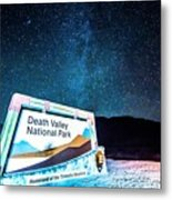 Welcome Sign To Death Valley National Park California At Night Metal Print