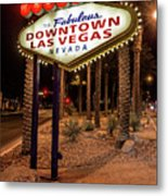 R.i.p. Welcome To Downtown Las Vegas Sign At Night Metal Print