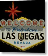 Welcome To Vegas Knights Sign Digital Drawing Metal Print