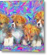 Welsh Corgi Pups Metal Print
