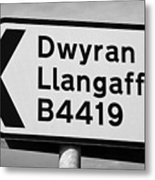 Welsh Rural Roadsign For B Road On Anglesey Wales Uk Metal Print