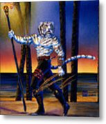 Werecat With Torch Metal Print
