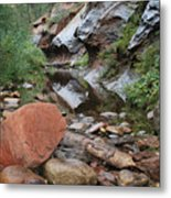 West Fork Trail River And Rock Horizontal Metal Print