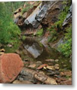 West Fork Trail River And Rock Vertical Metal Print