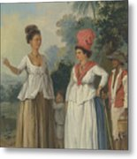 West Indian Women Of Color, With A Child And Black Servant Metal Print