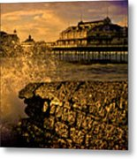 West Pier Splash Metal Print