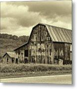 West Virginia Barn Sepia Metal Print