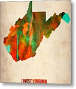 West Virginia Watercolor Map Metal Print by Naxart Studio