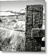 Western Barbed Wire Fence Black And White Metal Print