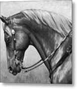 Western Horse Black And White Metal Print by Crista Forest