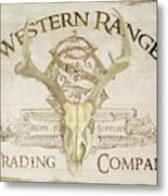 Western Range 3 Old West Deer Skull Wooden Sign Trading Company Metal Print