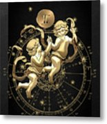 Western Zodiac - Golden Gemini - The Twins On Black Canvas Metal Print