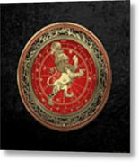 Western Zodiac - Golden Leo - The Lion On Black Velvet Metal Print