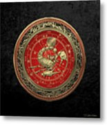 Western Zodiac - Golden Scorpio - The Scorpion On Black Velvet Metal Print