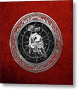 Western Zodiac - Silver Taurus - The Bull On Red Velvet Metal Print