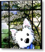 Westie At Dogwood Window Metal Print