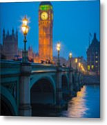 Westminster Bridge At Night Metal Print