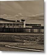 Weston  Super Mare   Outflow  Pier  Black  White Metal Print