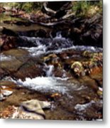 Rocks And Water In Autumn Metal Print