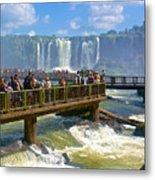 Wet Walkways In The Iguazu River In Iguazu Falls National Park-brazil  Metal Print