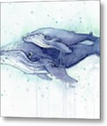 Whales Humpback Watercolor Mom And Baby Metal Print