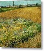 Wheat Field With Alpilles Foothills In The Background At Wheat Fields Van Gogh Series, By Vincent  Metal Print