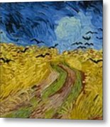 Wheat Field With Crows At Wheat Fields Van Gogh Series, By Vincent Van Gogh Metal Print