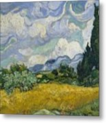 Wheat Field With Cypresses Metal Print