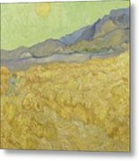 Wheat Field With Reaper At Wheat Fields Van Gogh Series, By Vincent Van Gogh Metal Print
