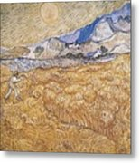 Wheat Field With Reaper Harvest In Provence Metal Print