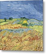 Wheat Field With Stormy Sky Metal Print