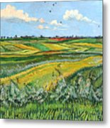 Wheat Fields And Clouds Metal Print