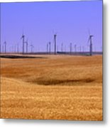 Wheat Fields And Wind Turbines Metal Print