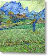 Wheat Fields In A Mountainous Landscape, By Vincent Van Gogh, 18 Metal Print