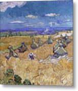 Wheat Fields With Reaper, Auvers Metal Print