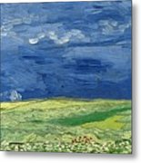 Wheatfield Under Thunderclouds At Wheat Fields Van Gogh Series, By Vincent Van Gogh Metal Print