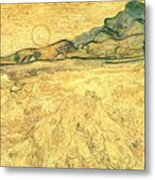Wheatfield With Reaper And Sun Metal Print