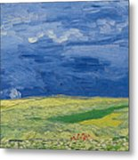 Wheatfields Under Thunderclouds Metal Print