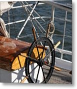 Sailingship Wheel Metal Print