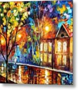 When The City Sleeps 2 - Palette Knife Oil Painting On Canvas By Leonid Afremov Metal Print