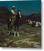 While Trail-weary Cattle Are Sleeping  Metal Print