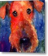 Whimsical Airedale Dog Painting Metal Print by Svetlana Novikova