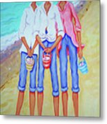 Whimsical Beach Women - The Treasure Hunters Metal Print