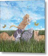 Whimsical Cats Metal Print