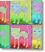 Whimsical Colorful Tabby Cat Pop Art Metal Print